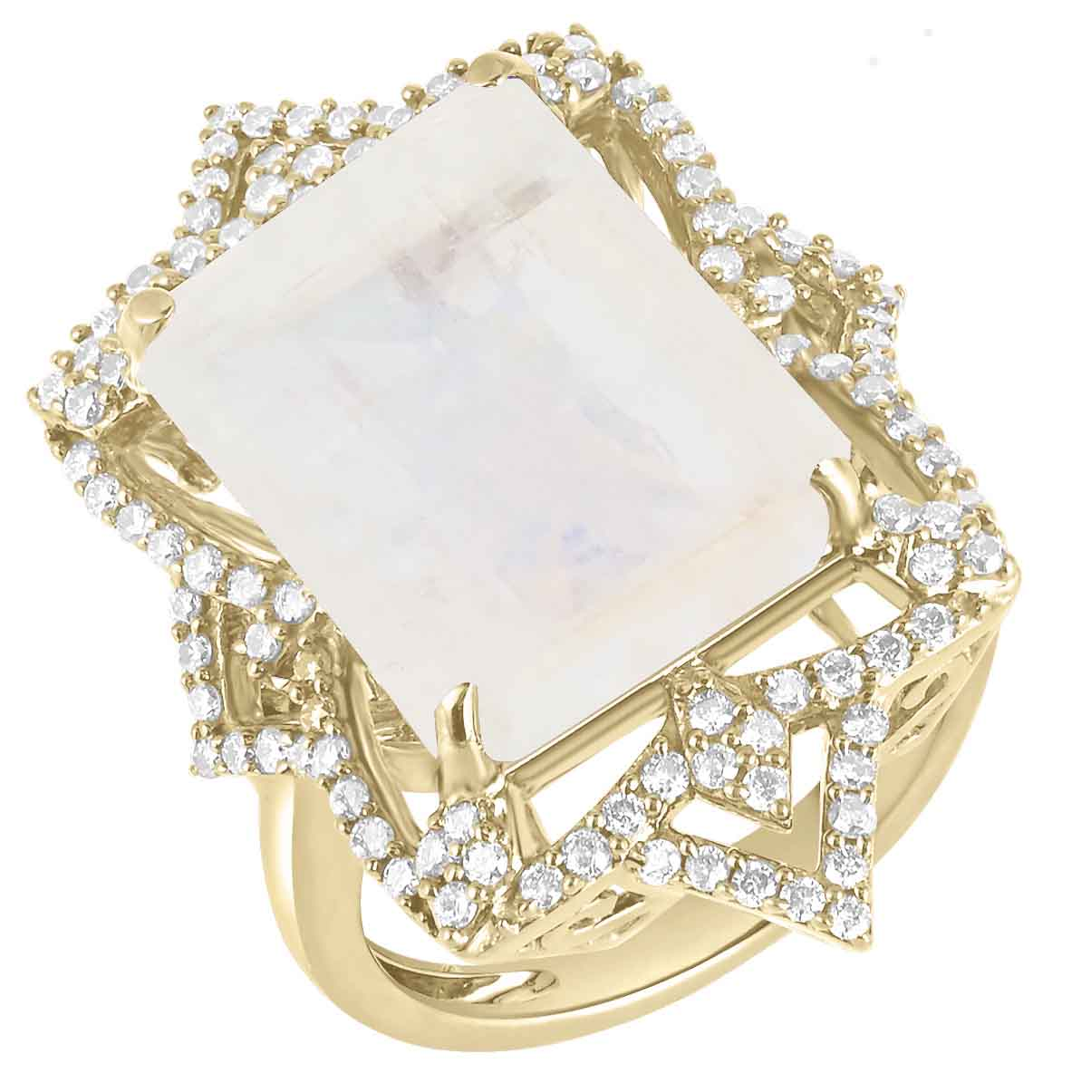 Yellow Gold Ring with Moonstone