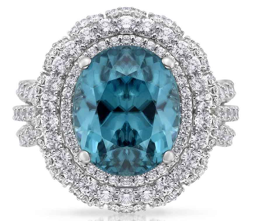 white gold ring with blue zircon
