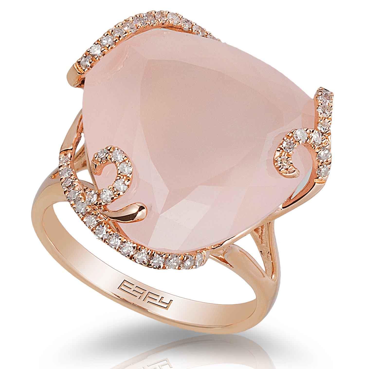 Rose Gold Ring with Rose Quartz
