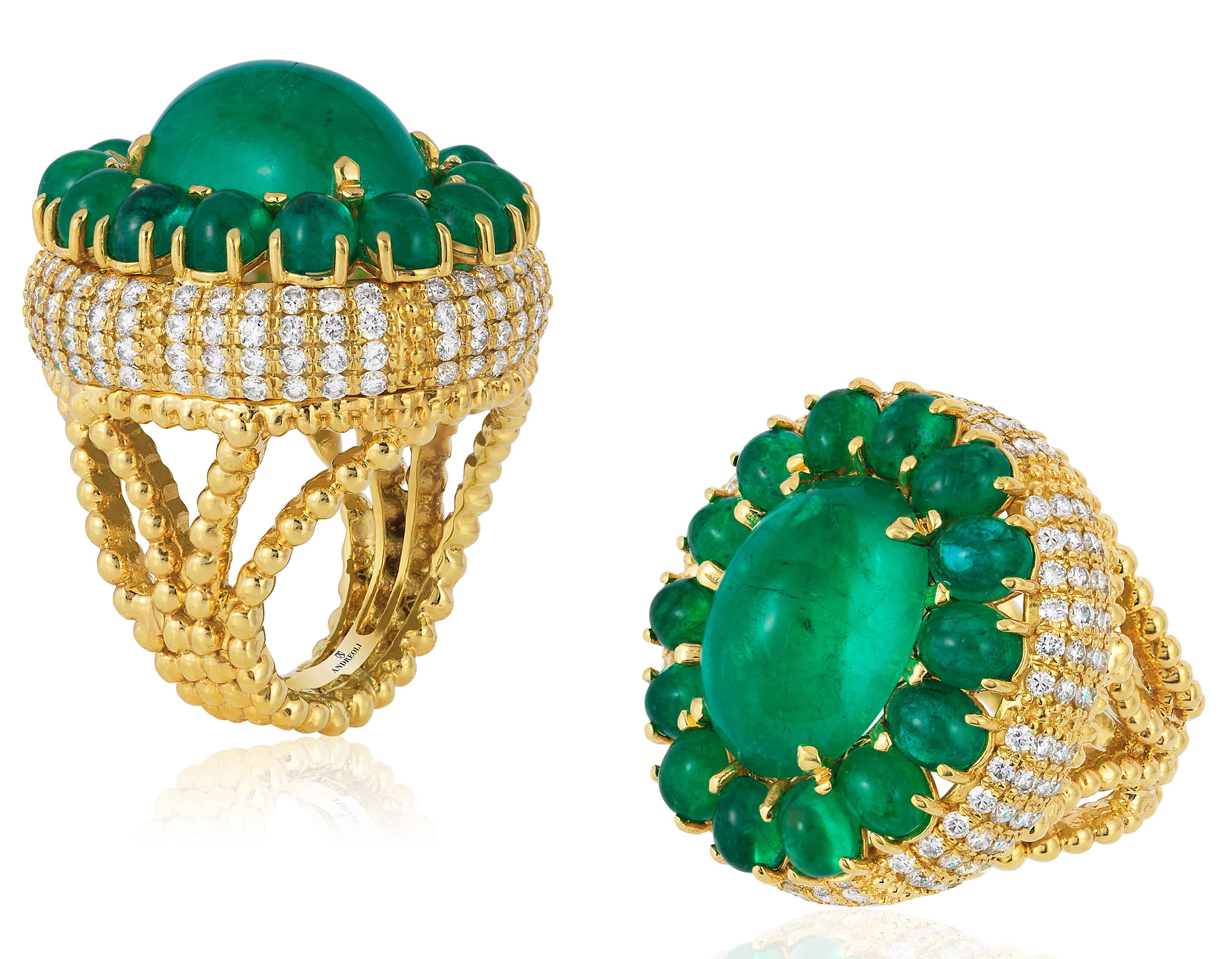 Yellow Gold Ring with Colombian Emerald Cabochons