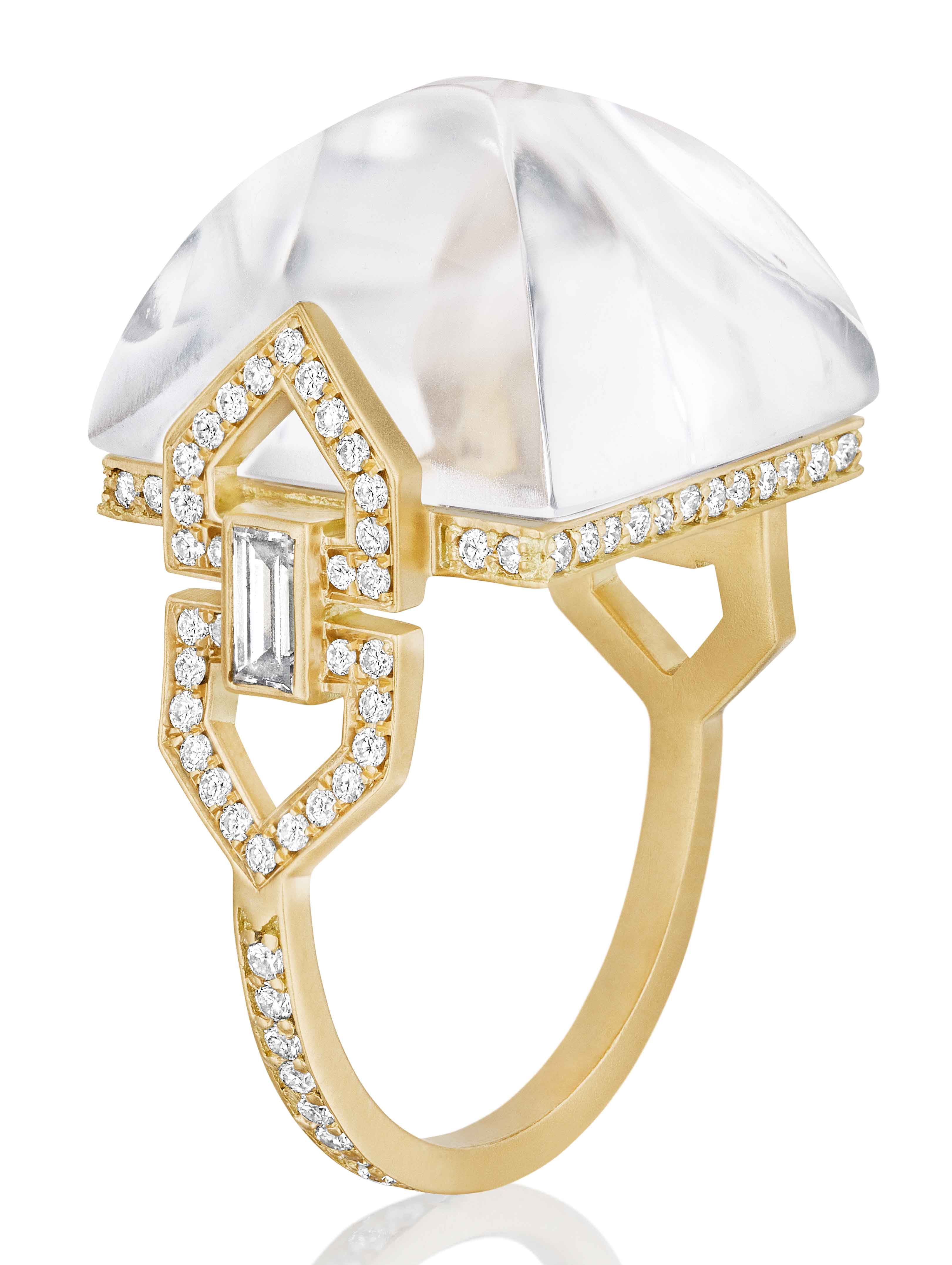 Yellow Gold Ring with Sugar Loaf–Cut Rock Crystal