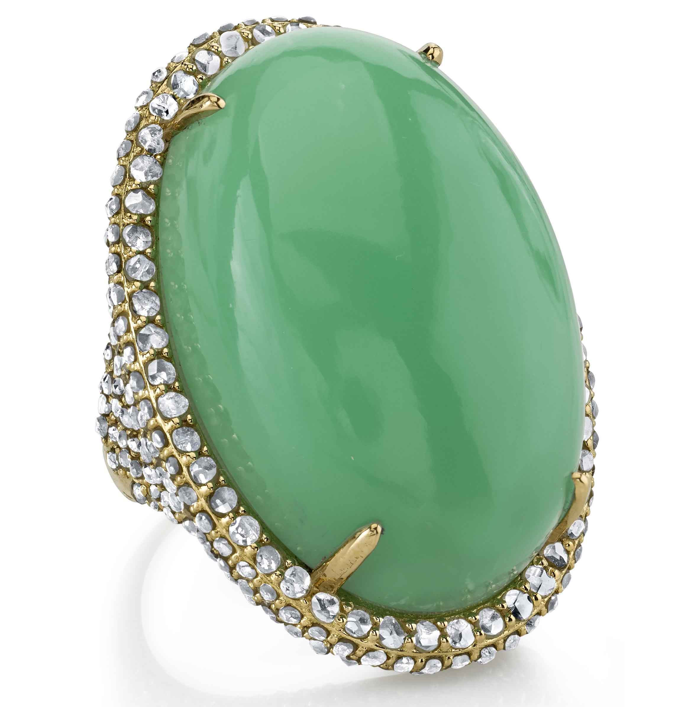 Cocktail Yellow Gold with Chrysoprase
