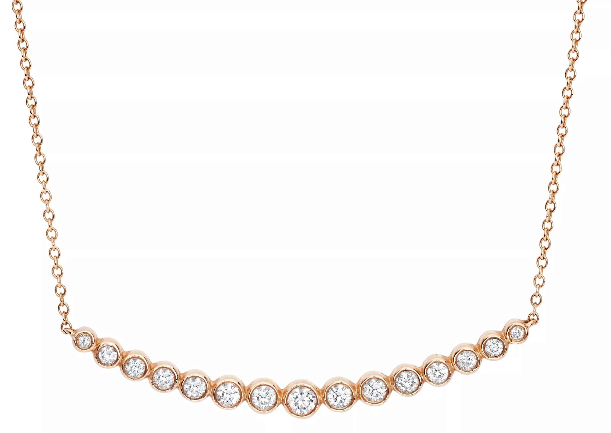 Multi-bezel crescent necklace