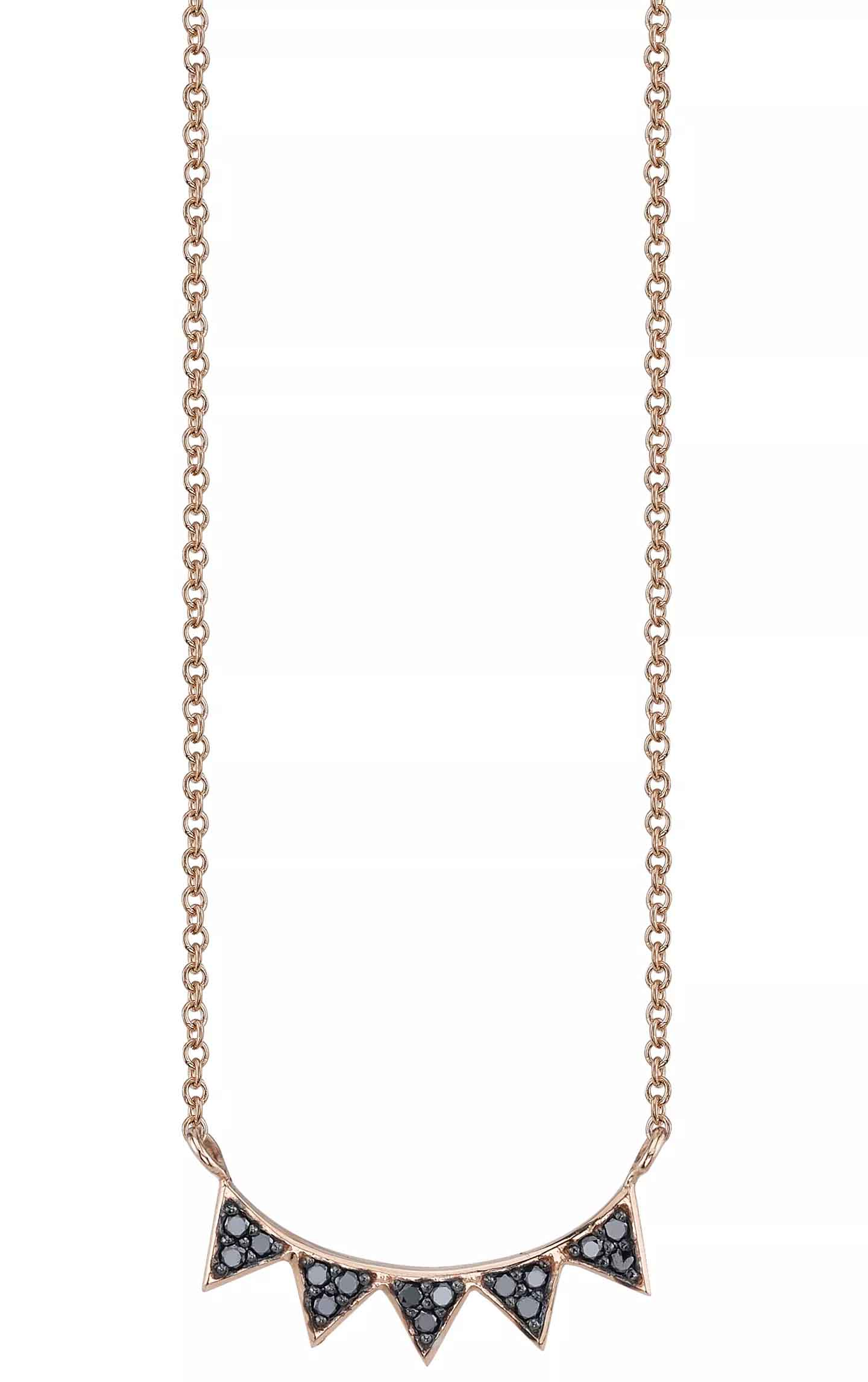 5 Triangle necklace in rose gold with black diamonds