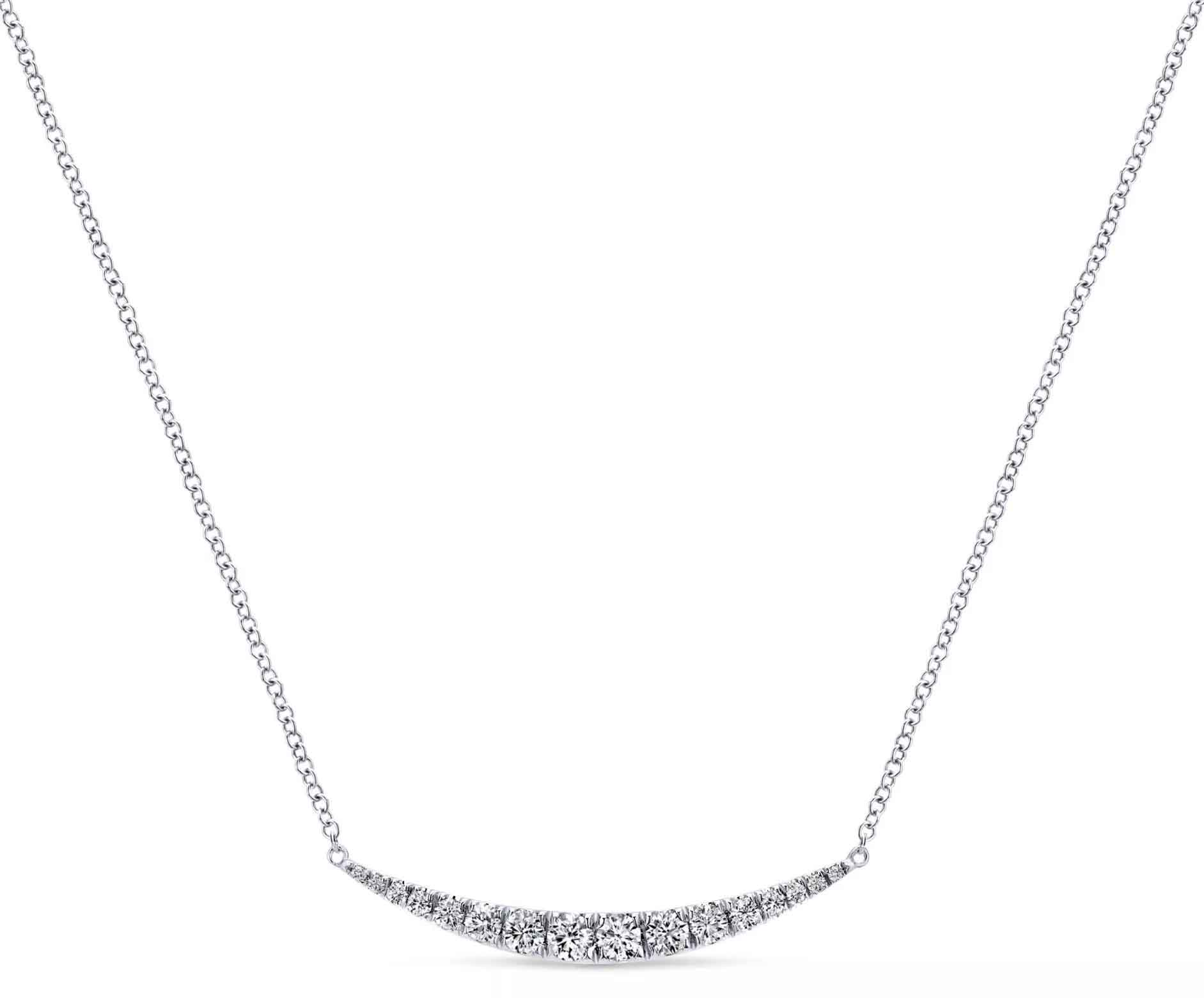 Indulgence bar necklace in 14k white gold with 0.5 ct. t.w. diamonds