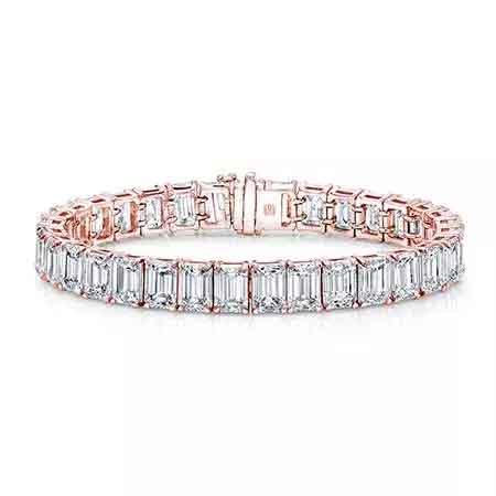 Emerald-cut tennis bracelet in 18k rose gold