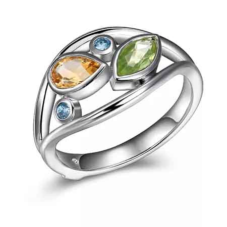 Ring in sterling silver with 1 ct. t.w. blue topaz, peridot, and citrine