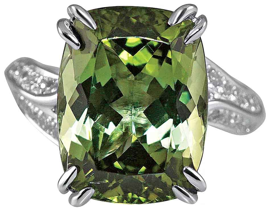 Marcy custom ring in platinum with a 7 ct. cushion green tourmaline