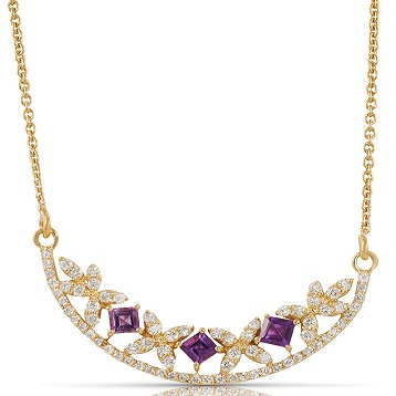 Raina necklace in 18k yellow gold with amethyst and diamonds