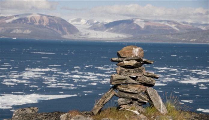 Ancient Inuit Inukshuk in Nunavut