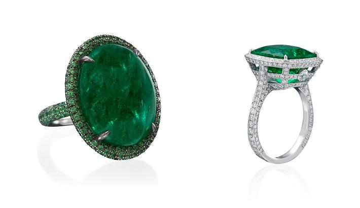Emeralds and Diamonds rings