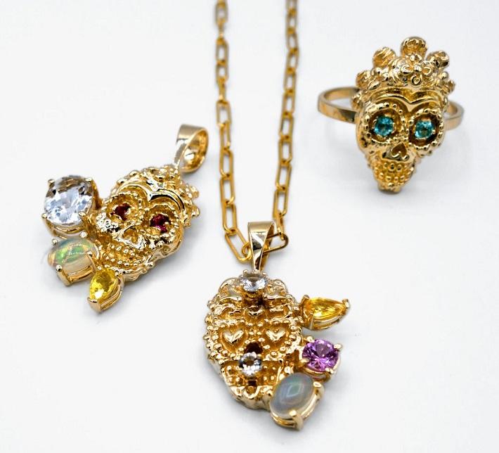 Skull ring and pendants by Carole Le Bris Perez