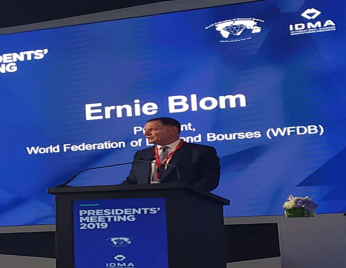 Ernie Blom Speaking at the Opening Session of the WFDB Presidents Meeting in Dubai