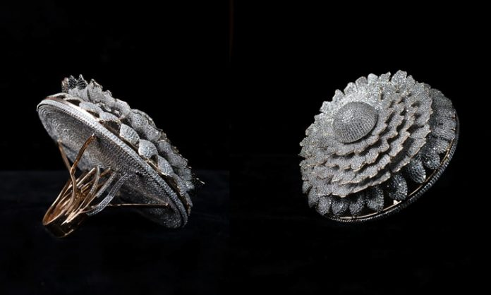 Indian Jeweler sets Dazzling Record - a Ring of 12,638 Diamonds
