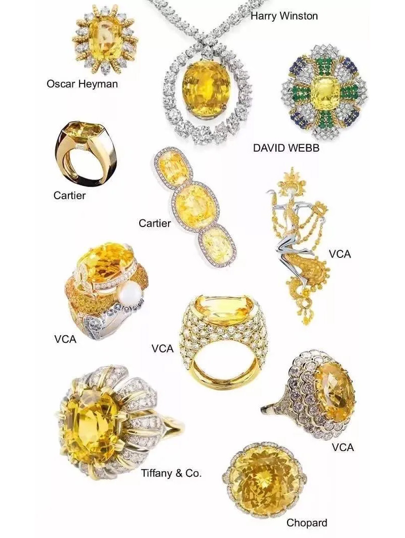 Pantone's color of the year, Illuminating Yellow, in gemstones