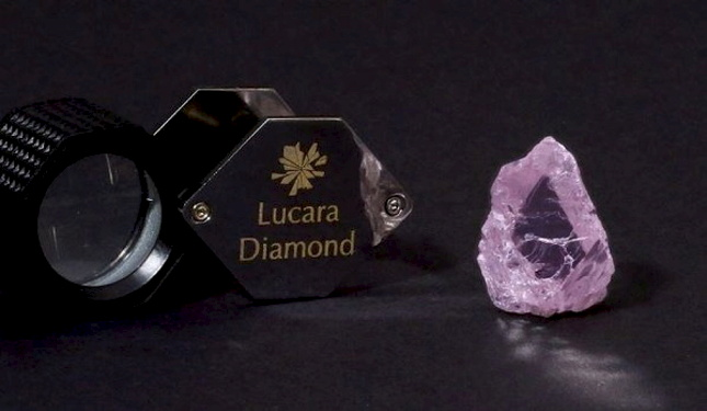 Lucara has recovered a huge fancy pink Type IIa diamond - weighing 62.7 carats - from its Karaowe mine, in Botswana. The Canadian miner said it was one of the world's largest rough pink diamonds on record. It was recovered from direct milling of ore sourced from the EM/PK(S) unit of the mine's South Lobe, along with three other large fancy pinks of similar quality - weighing 22.1 carats, 11.17 carats and 5.05 carats. The largest of the four stones, measuring 26x17x16mm, (pictured) has been named Boitumelo, which means