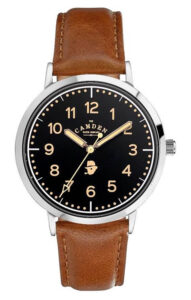 STEEL CASE WITH BLACK DIAL AND TAN LEATHER STRAP